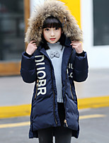 cheap -Girls' Solid Print Down & Cotton Padded,Cotton Polyester Long Sleeves Casual Navy Blue