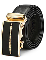 Men's Leather Buckle,Black Vintage Casual Solid Color Vintage Style