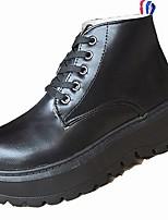 Недорогие -Для женщин Обувь Полиуретан Зима Удобная обувь Меховая подкладка Ботинки Круглый носок Ботинки Назначение Повседневные Черный