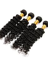 Недорогие -Натуральные волосы Реми Бразильские волосы Человека ткет Волосы Крупные кудри Наращивание волос 4 Черный