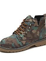 preiswerte -Damen Schuhe PU Winter Springerstiefel Komfort Stiefel Runde Zehe Mittelhohe Stiefel Perlenstickerei Für Normal Schwarz Braun Armeegrün
