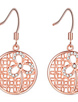 Women's Drop Earrings Rhinestone Adorable Elegant Silver Rose Gold Plated Flower Jewelry For Wedding Party