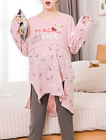 Costumes Pyjamas Femme,Animaux Coton Polyester Rose Claire Gris Clair