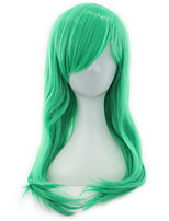 Women Synthetic Wig Capless Medium Length Long Natural Wave Green With Bangs Party Wig Natural Wigs Costume Wig