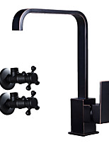 Art Deco / Retro Tall/­High Arc Centerset Widespread Ceramic Valve Single Handle One Hole Oil-rubbed Bronze , Kitchen faucet