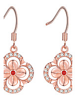 Women's Drop Earrings Rhinestone Fashion Elegant Rhinestone Rose Gold Plated Circle Flower Jewelry For Wedding Party