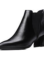 preiswerte -Damen Schuhe PU Winter Herbst Komfort Stiefel Blockabsatz Spitze Zehe Für Schwarz Grau Rot