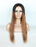 Ombre Color Natural Straight Full Lace Wig 100% Human Virgin Hair for Black Women