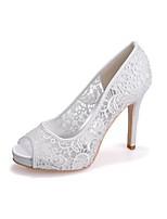 Femme Chaussures Dentelle Printemps Automne Escarpin Basique Chaussures de mariage Bout ouvert Pour Mariage Soirée & Evénement Blanc Noir