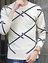 Men's Daily Going out Long Pullover,Print Round Neck Long Sleeves Polyester Spring Fall/Autumn Thick Micro-elastic