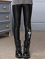 economico -Pantaloni Da ragazza PU (Poliuretano) Cotone Tinta unita Con stampe Inverno Autunno