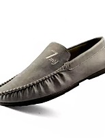 Men's Shoes Real Leather Nappa Leather Spring Fall Moccasin Comfort Loafers & Slip-Ons For Casual Brown Gray Black