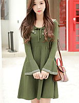 Women's Daily Going out Cute Casual A Line Sweater Dress,Solid V Neck Above Knee Long Sleeve Rayon Spring Fall High Rise Stretchy Opaque