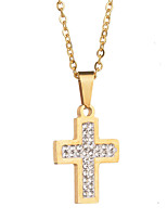 cheap -Women's Cross Sweet Pendant Necklace Stainless Pendant Necklace , Wedding