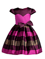Girl's Holiday Going out Striped Dress,Polyester Summer Fall Short Sleeves Cute Princess Fuchsia Blushing Pink