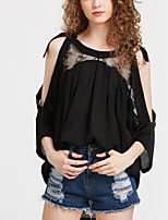 cheap -Women's Daily Holiday Street chic Winter Fall T-shirt,Solid Round Neck ¾ Sleeve Polyester