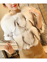 Women's Going out Simple Sexy Fall Winter Fur Coat,Solid Stand Long Sleeves Short Cashmere Acrylic Polyester