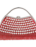 Women Bags Polyester Evening Bag Buttons Tassel for Casual All Season Blue Gold Black Silver Red