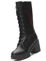 cheap -Women's Shoes Rubber Winter Combat Boots Boots Chunky Heel For Outdoor Black