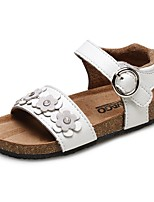 cheap -Girls' Shoes Leather Summer Comfort Sandals Rhinestone Crystal Flower Magic Tape for Casual Dress White