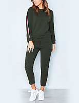 Women's Daily Holiday Street chic Winter Autumn/Fall Hoodie Pant Suits,Striped Round Neck Long Sleeve Polyester