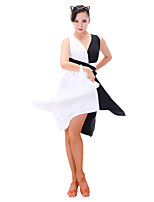 cheap -Latin Dance Dresses Women's Performance Chinlon Milk Fiber Sleeveless Dresses
