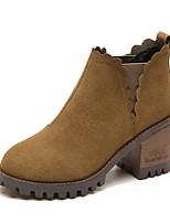 abordables -Mujer Zapatos PU Invierno Confort Botas de Combate Botas Dedo redondo Mitad de Gemelo Para Casual Negro Verde Ejército Caqui