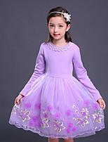 Robe Fille de Couleur Pleine Coton Rayonne Hiver Automne Manches Longues Actif Princesse Rouge Rose Claire Violet