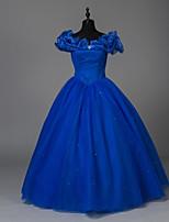 Victorien Princesse Féminin Adulte Costume de Soirée Bal Masqué Bleu Cosplay Polyester Sans Manches Longueur Sol