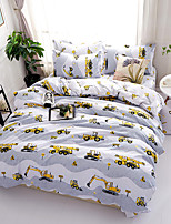 Duvet Cover Sets Floral Cartoon 4 Piece Poly/Cotton Reactive Print Poly/Cotton 4pcs (1 Duvet Cover, 1 Flat Sheet, 2 Shams) (If Twin size,