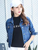 Veste en jean Femme,Couleur Pleine Sortie Décontracté / Quotidien simple Automne Manches Longues Col de Chemise Normal Coton