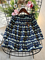 Girl's Birthday Holiday Botanical Lines / Waves Dress,Cotton Polyester Cute Casual Active Blue Green