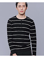 Men's Daily Casual Regular Pullover,Solid Print Round Neck Long Sleeves Polyester Winter Fall Thick Micro-elastic