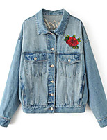 cheap -Women's Sports Simple Casual Spring Fall Denim Jacket,Solid Print Round Neck Long Sleeve Regular Linen Polyester Oversized