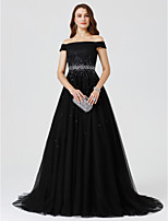 A-Line Princess Off-the-shoulder Sweep / Brush Train Tulle Formal Evening Dress with Beading by TS Couture®