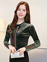 cheap -Women's Daily Sophisticated Blouse,Solid Stand Long Sleeves Polyester