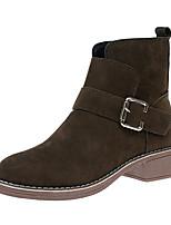abordables -Mujer Zapatos Cuero Nobuck Invierno Botas de Moda Botas Dedo Puntiagudo Mitad de Gemelo Para Casual Negro Verde Ejército