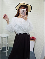 Women's Going out Casual/Daily Sexy Simple Street chic Spring Fall Blouse,Solid Round Neck Long Sleeves Cotton Thin Medium