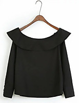 Women's Daily Vintage Shirt,Solid Round Neck Long Sleeves Cotton