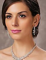 Femme Boucles d'oreille goutte Collier Strass Classique Mariage Soirée Imitation Diamant Alliage Forme Géométrique 1 Collier Boucles