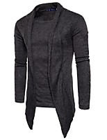 Men's Casual/Daily Short Pullover,Solid Round Neck Long Sleeves Cotton Polyester Fall Medium Micro-elastic