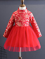 Girl's Daily Going out Patchwork Embroidered Dress,Polyester Winter Fall Long Sleeves Chinoiserie Red