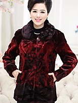 Women's Party Going out Vintage Chinoiserie Winter Fur Coat,Print Regular Others