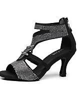 Women's Latin Silk Sandal Beginner Faux Pearl Stiletto Heel Black 3