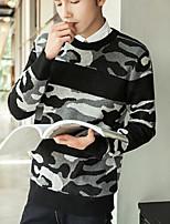 Corto Pullover Da uomo-Casual Semplice Con stampe Rotonda Maniche lunghe Cotone Autunno Inverno Medio spessore strenchy