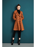 cheap -ZIYI Women's Party Going out Simple Casual Winter Fall Trench coat,Solid Shirt Collar Long Sleeves Regular Polyester