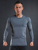 Men's Running T-Shirt Long Sleeves Trainer Fitness Compression Clothing for Running/Jogging Exercise & Fitness Elastane Polyster Black