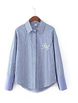 cheap -Women's Going out Vintage Fall Shirt,Striped Shirt Collar Long Sleeves Cotton Opaque