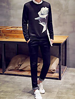 cheap -Men's Daily Going out Sweatshirt Print Round Neck Micro-elastic Polyester Long Sleeves Winter Fall/Autumn