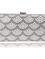 Women Bags All Season Polyester Clutch Pearlised Trim for Event/Party Blue Gold White Black Red